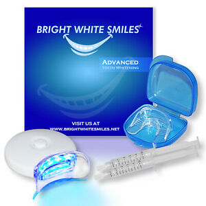 BRIGHT WHITE SMILES TEETH WHITENING KIT LED LIGHT ACTIVATED TOOTH WHITENER GEL