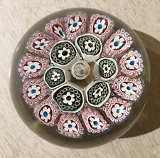 Murano Glass Italy Gold Red Green Millefiori Flowers Round Paperweight VTG