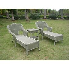 Resin Wicker Outdoor 3-Piece Chaise Lounge Set Antique Moss