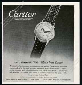 1951 Jaeger LeCoultre Futurematic watch photo Cartier vintage print ad
