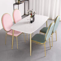 Nordic Style Multi-Color Velvet Cushion Gold Frame Backrest Dinning Chairs Seats