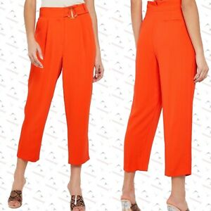New ex Topshop Orange Belted Cropped Wide Leg Trouser Pants RRP £36 Sizes 4-14