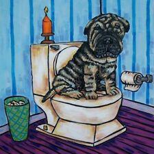 shar pei dog art tile coaster gift Jschmetz in the bathroom