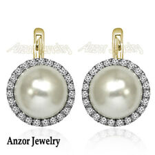 14k Solid White and Yellow Gold Russian Jewelry Diamond Pearl Earrings
