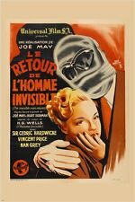vintage FRENCH MOVIE POSTER the invisible man returns JOE MAY unusual 24X36