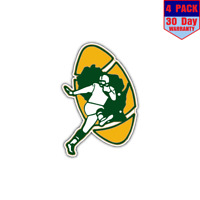 Green Bay Packers NFL Football Helmet 4 Stickers 4x4 Inch Sticker Decal
