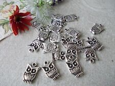 20 X OWL TIBETAN SILVER COLOURED METAL CHARMS/PENDANTS- OWLS