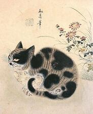 Counted Cross Stitch Pattern Chart Graph - Korean Cat Asian Art Print