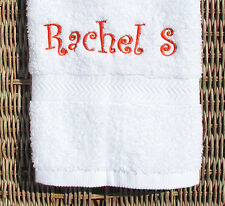 Personalized Embroidered White Hand Towel - Quality 100% Cotton Lombs