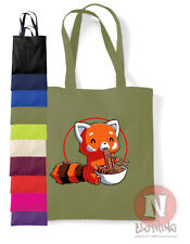 Red Panda tote bag noodles Asian anime fun shopping 100% cotton environmental
