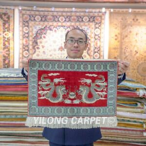 Yilong 1.5'x2' Chinese Dragon Hand Knotted Area Rug Tapestry Silk Carpet 094H
