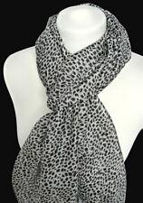 leichter Damen Seidenschal 100% Seide schwarz grau gefleckt camouflage Schal 147