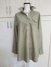 j.Crew Women's Top Tunic Shirt Button Up Long Sleeve Roll Up Green Sz XL