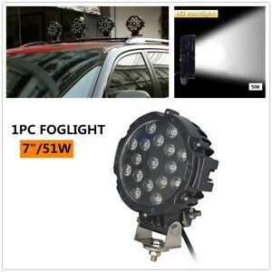 "Work Lights 7"" 51W Round Spot LED Pods Light Bumper Driving Lamp 1PC w/Bracket"