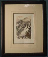 Framed Lithograph Print Pyrenees Cascade Valentin Aux Eaux -Bonne Gorse Becquer