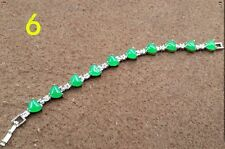 Beautiful Natural Green Jade Heart Inlay Lucky Link Bracelet Chain Girl's Gift