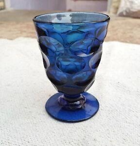 Vintage Scarce V Unique Design Engraved Cobalt Blue GlassnTumbler,Belgium
