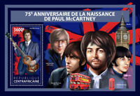 Central African Rep Music Stamps 2017 MNH Paul McCartney The Beatles 1v S/S