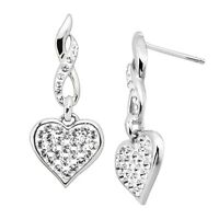 Sterling Silver Crystaluxe Drop Heart Earrings with Swarovski Crystal Elements