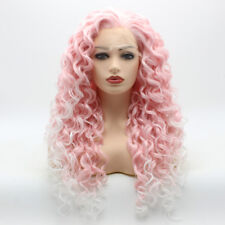Meiyite Hair Curly Long 26inch Pink Root White Ombre Synthetic Lace Front Wig