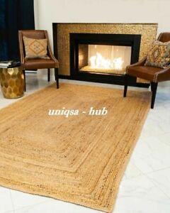 Rug 100% Natural Jute Rustic look Runner Rug Braided style Reversible Carpet Rug