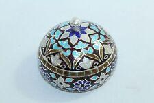 Marron Blue Enamel Cloisonne Work 925 Sterling Silver Stamped Trinket Round Box