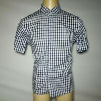 Vedoneire XL Blue White Gingha Check Plaid Men's Button-Front Extra Large Shirt