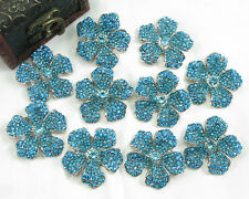 BLUE 10x Vintage Crystal Rhinestone Brooch Pins Wedding Bridal Bouquet Deco Clip