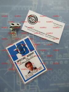 X - Files Fox Mulder's (David Duchovny) FBI ID Badge & Business Card