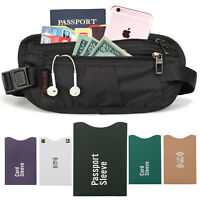 Hidden Security Passport Holder Waist Money Belt Bag Travel Wallet+Card Sleeves
