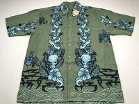 Box Office Island M Men's Short Sleeve Camp Shirt Sage Green Blue Skulls NEW