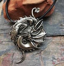 Plata Antigua PLT Yin Yang Dragon Colgante Collar Regalo Damas Hombres Norse eslavo