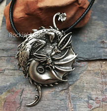 Antique Silver Plt Yin Yang Dragon Pendant Necklace Ladies Men Norse Slavic Gift