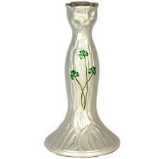 Belleek Ireland Porcelain Tall Candle Holder, Candlestick, Green Shamrocks