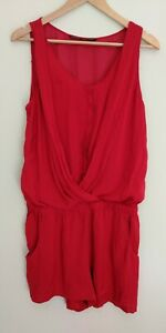 Zara Red Sleeveless Button Up Playsuit Romper Size L