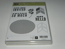 Stampin Up Oh Hello CLEAR Mount Stamp Set of 7 You're Invited Thanks so Much