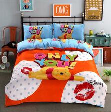 Full Queen 4pcs Winnie The Pooh Cartoon Bedding Set Pillowcase Sheet Duvet Cover