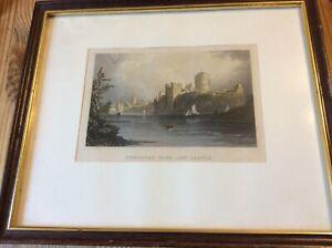 pembroke castle coloured antique print. framed
