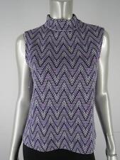 $645 ST JOHN M Knit Luxury Purple Ivory Black Zig Zag Chevron Sleeveless Top EUC