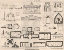 Etruscan architecture. Architecture 1873 old antique vintage print picture