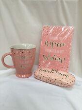 Prosecco Gift Set Ceramic Mug Notebook Glasses Case Birthday Teacher Gift