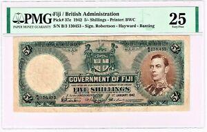 Fiji: Government of Fiji 5 Shillings 1.1.1942 Pick 37e. PMG Very Fine 25.