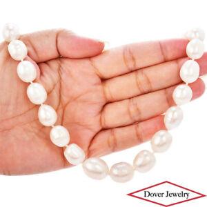 Estate 11-14mm Pearl 14K Gold Elegant 17.5  Long Necklace 81.1 Grams NR
