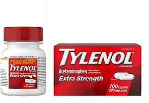 Tylenol Extra Strength Caplets Fever Pain Reliever 500 mg 100 Count Exp 12/24