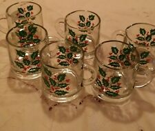 Christmas Vintage Glass Holly Mugs