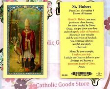 Saint Hubert with Prayer to St Hubert - Laminated  Holy Card