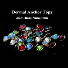 Flat CZ Gem Micro Dermal Anchor Crystal Top Skin Diver Dermal Piercing Jewelry