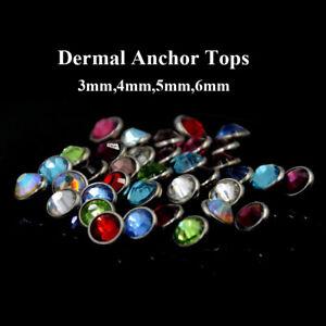 Flat CZ Gem Micro Dermal Anchor Crystal Top Skin Diver Dermal Piercing Jewelry