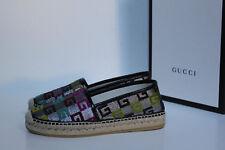 sz 6 / 36 Gucci Logo GG Multi Color Pilar Espadrille Loafer Women's Flat Shoes