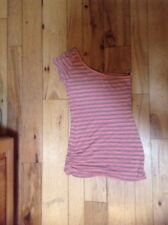 Forever 21 one shoulder Pink /Grey  Striped tight stretch dress /tunic size S/P